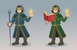 Magicien With Magic Wand et livre Photographie stock libre de droits