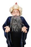 Magicien sage drôle d'isolement Photo stock