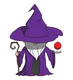 Magicien simple de bande dessinée avec le personnel. D'isolement dessus Image stock