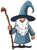 Magicien simple de dessin animé avec le personnel Photographie stock libre de droits
