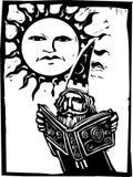 Magicien sous un visage du soleil illustration libre de droits