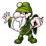 Magicien vert avec la baguette magique illustration de vecteur