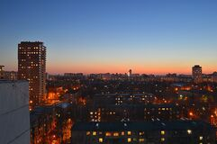 Magicness and warm springtime evening in Korolev-city after sundown on the roof Stock Images