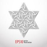 Magiczna biel gwiazda z wzorem inside 3d Sakralna geometrii postać Skandynaw, celt lub wschodnia stylowa ilustracja, royalty ilustracja