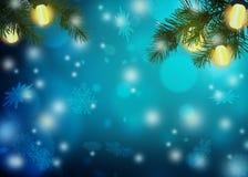 Magiczna boże narodzenie noc Uroczyści światła i gałąź Chr royalty ilustracja