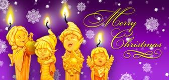Magiczna Bożenarodzeniowa świeczka W Candlestick royalty ilustracja