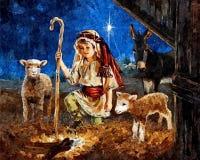 Magiczna Bożenarodzeniowa noc Wszystko życzy przychodzący prawdziwego na Bożenarodzeniowej nocy Malować mokrą akwarelę na papierz ilustracji