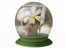 Magiczna chałupa i kwiat w Śnieżnej kuli ziemskiej Obraz Stock