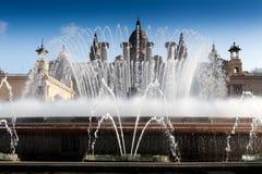 Magiczna fontanna z Museu Nacional D'Art de Zdjęcie Stock