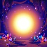 Magiczna jama Czarodziejka krajobraz jama z kryształami i tajemnic światłami tła fantazi tekst pisze twój ilustracji