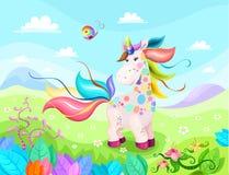 Magiczna jednorożec ilustracja z pięknym tłem Zdjęcia Royalty Free