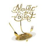 Magiczna makaron wycena z łyżki i rozwidlenia 3D renderingiem Fotografia Royalty Free