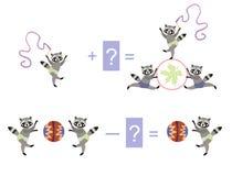 Magiczna matematyka z ślicznymi szop pracz Edukacyjna gra dla dzieci ilustracja wektor