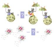 Magiczna matematyka z ślicznymi szop pracz Edukacyjna gra dla dzieci royalty ilustracja
