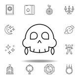 Magiczna medyczna czaszka konturu ikona elementy magiczna ilustracji linii ikona znaki, symbole mogą używać dla sieci, logo, mobi ilustracja wektor