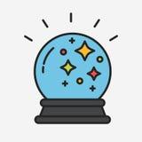 Magiczna pomyślność mówi kryształowej kuli kreskową wektorową ilustrację ilustracja wektor