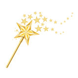Magiczna złota różdżka z śladami gwiazdy na bielu Obrazy Royalty Free