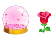 Magiczne krystaliczne romantyczne piłki z serca inside i wzrastali dzień ilustracyjny valentines wektor Obrazy Stock