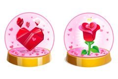 Magiczne krystaliczne romantyczne piłki z sercami i wzrastali inside dzień ilustracyjny valentines wektor Obraz Royalty Free