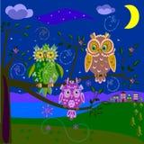 Magiczne sowy royalty ilustracja