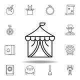 Magicznego budynku konturu cyrkowa ikona elementy magiczna ilustracji linii ikona znaki, symbole mogą używać dla sieci, logo, mob ilustracji
