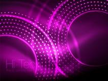 Magicznego neonowego okręgu kształta abstrakcjonistyczny tło, błyszczący lekkiego skutka szablon dla sieć sztandaru, biznes lub t ilustracja wektor