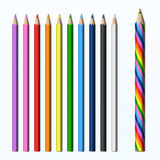 Magicznego ołówka barwioni ołówki ustawiający Zdjęcia Royalty Free