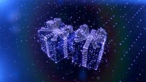 Magiczni Błękitni Neonowi Bożenarodzeniowi prezenty z bokeh cząsteczek tłem Bezszwowa pętla 3 d czynią zdjęcie wideo