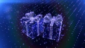 Magiczni Błękitni Neonowi Bożenarodzeniowi prezenty z bokeh cząsteczek tłem 3 d czynią zdjęcie wideo