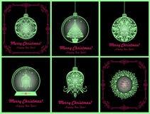 Magiczni boże narodzenia cią out piłkę, dzwon, xmas drzewa, rozjarzonej kuli ziemskiej i wianku, rocznik grępluje kolekcję z wies ilustracja wektor