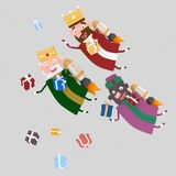 Magiczni królewiątka lata na rakiecie 3D ilustracji