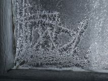 Magiczni płatki śniegu na okno Zdjęcia Stock