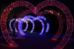 Magiczni rozjarzeni serca uzupełniają tunel obrazy stock