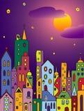 Magiczny średniowieczny miasteczko przy nocą Obrazy Royalty Free