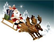 Magiczny Święty Mikołaj sanie Obraz Royalty Free