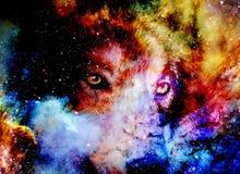 Magiczny astronautyczny wilk, multicolor komputerowej grafiki kolaż royalty ilustracja