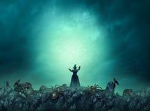 Magiczny czarownicy Halloween tło ilustracji