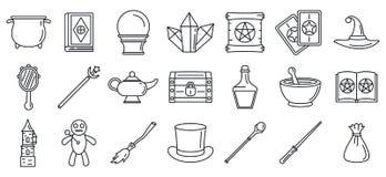 Magiczny czarownik wytłacza wzory ikony ustawiać, konturu styl ilustracja wektor