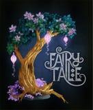 Magiczny drzewo z kwiatami i światłami jarzy się w nocy royalty ilustracja