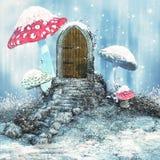 Magiczny drzwi na zimy łące royalty ilustracja