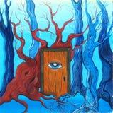 Magiczny drzwi w lesie Fotografia Royalty Free