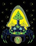 Magiczny krab z pieczarkami na plecy Obraz Stock