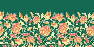 Magiczny kwiatów i liści horyzontalny bezszwowy ilustracji