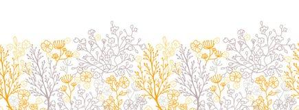 Magiczny kwiecisty horyzontalny bezszwowy wzór ilustracji