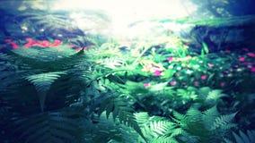 Magiczny las tropikalny z pięknym oświetleniem royalty ilustracja