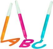 Magiczny pióro pisze A, b i C, Zdjęcie Stock