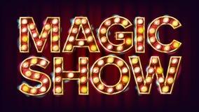 Magiczny przedstawienie sztandaru znaka wektor Dla sztuka festiwalu wydarzeń projekta Cyrka 3D Rozjarzony element Kreatywnie ilus ilustracja wektor