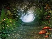 Magiczny przejście w starym lesie Fotografia Stock
