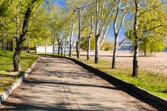Magiczny ranek z powstającym słońcem tworzy sztukę światło w alei miasta parku IV Zdjęcie Royalty Free