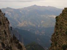 Magiczny widok od `` Drakolimni `` wysokogórski jezioro w halnym Tymfi 2497m Północny Pindos obrazy royalty free